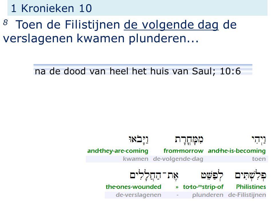 1 Kronieken 10 8 Toen de Filistijnen de volgende dag de verslagenen kwamen plunderen...