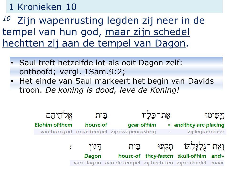 1 Kronieken 10 10 Zijn wapenrusting legden zij neer in de tempel van hun god, maar zijn schedel hechtten zij aan de tempel van Dagon.