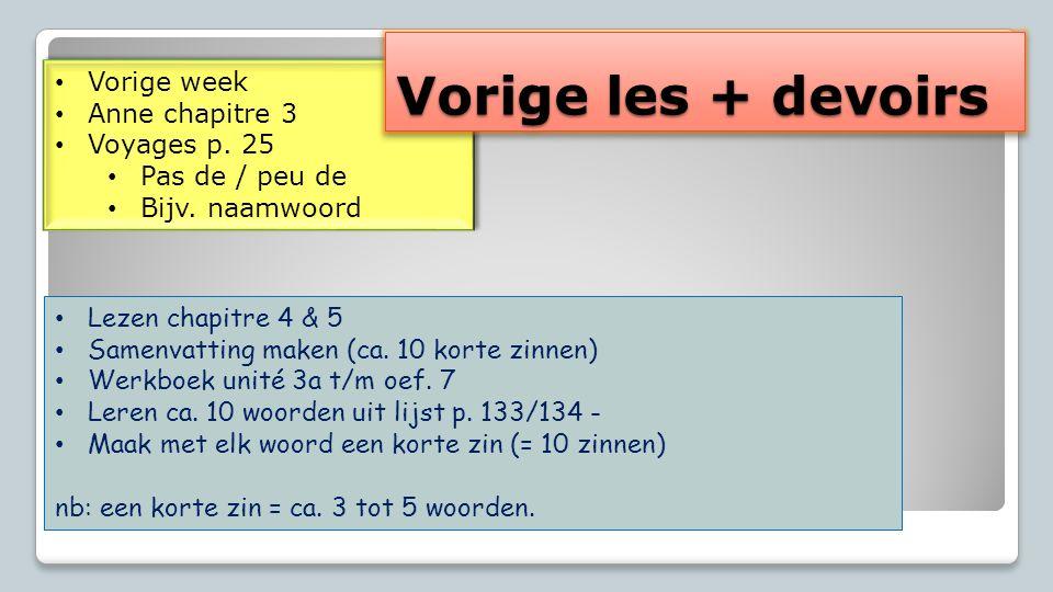 Vorige week Anne chapitre 3 Voyages p. 25 Pas de / peu de Bijv.
