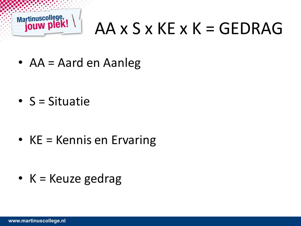AA x S x KE x K = GEDRAG AA = Aard en Aanleg S = Situatie KE = Kennis en Ervaring K = Keuze gedrag