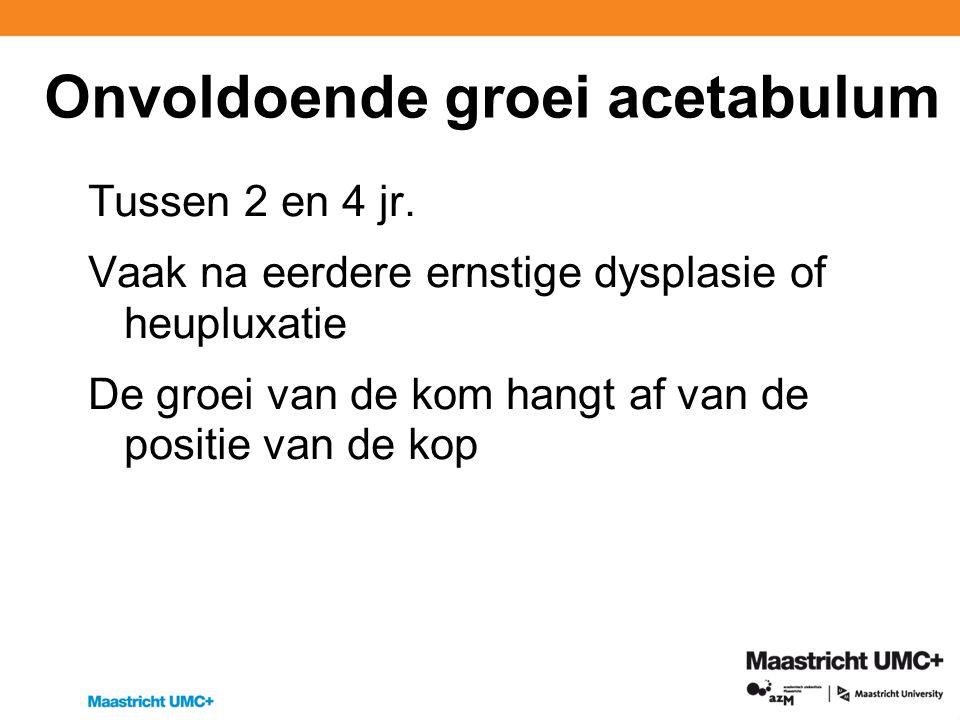 Onvoldoende groei acetabulum Tussen 2 en 4 jr.