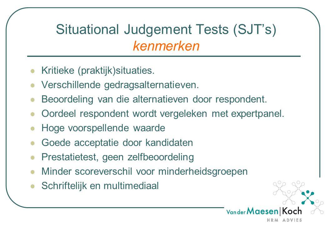 Situational Judgement Tests (SJT's) kenmerken Kritieke (praktijk)situaties.