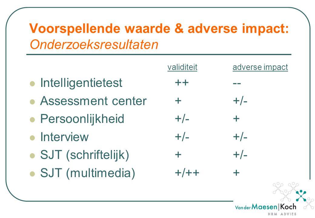 Voorspellende waarde & adverse impact: Onderzoeksresultaten validiteitadverse impact Intelligentietest++-- Assessment center++/- Persoonlijkheid+/-+ Interview+/-+/- SJT (schriftelijk) ++/- SJT (multimedia) +/+++