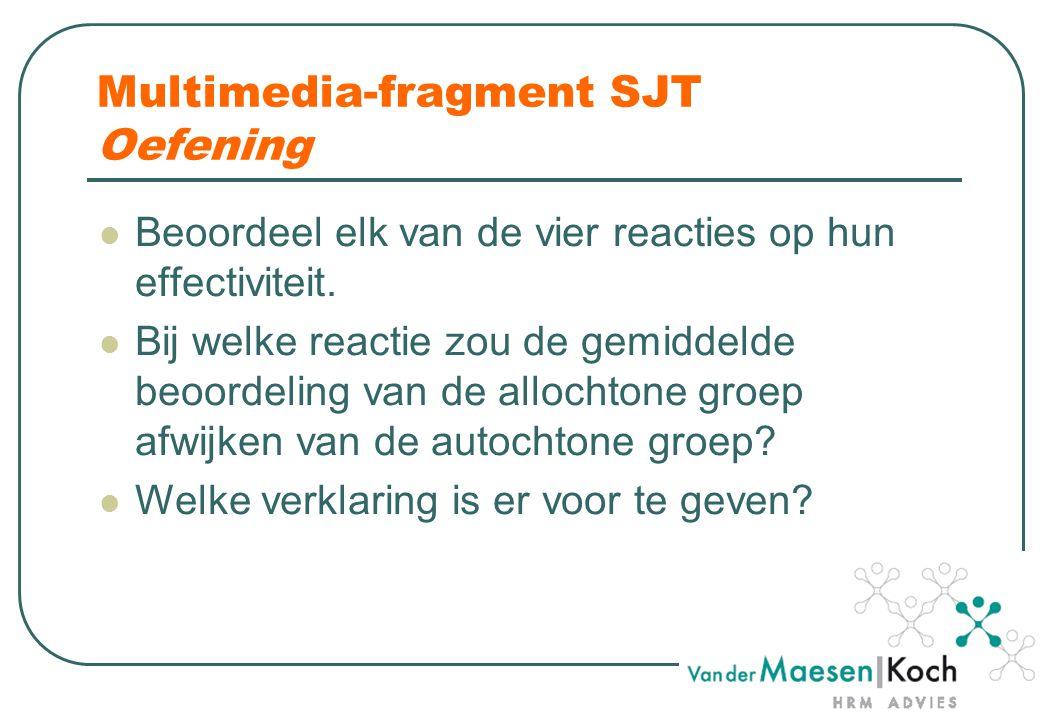 Multimedia-fragment SJT Oefening Beoordeel elk van de vier reacties op hun effectiviteit.