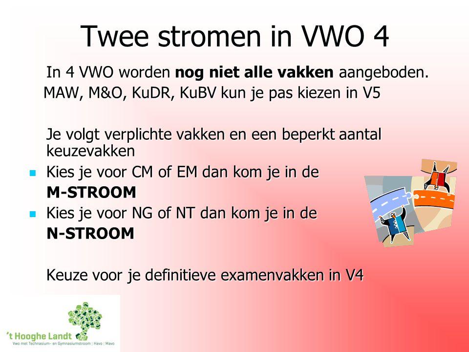 Twee stromen in VWO 4 In 4 VWO worden nog niet alle vakken aangeboden. MAW, M&O, KuDR, KuBV kun je pas kiezen in V5 MAW, M&O, KuDR, KuBV kun je pas ki