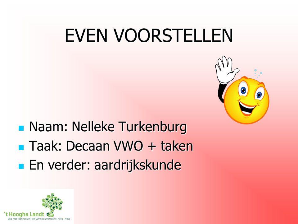 EVEN VOORSTELLEN Naam: Nelleke Turkenburg Naam: Nelleke Turkenburg Taak: Decaan VWO + taken Taak: Decaan VWO + taken En verder: aardrijkskunde En verd