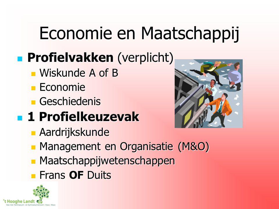 Economie en Maatschappij Profielvakken (verplicht) Profielvakken (verplicht) Wiskunde A of B Wiskunde A of B Economie Economie Geschiedenis Geschieden