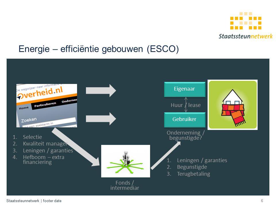 Staatssteunnetwerk | footer date Energie – efficiëntie gebouwen (ESCO) 6 Onderneming / begunstigde.