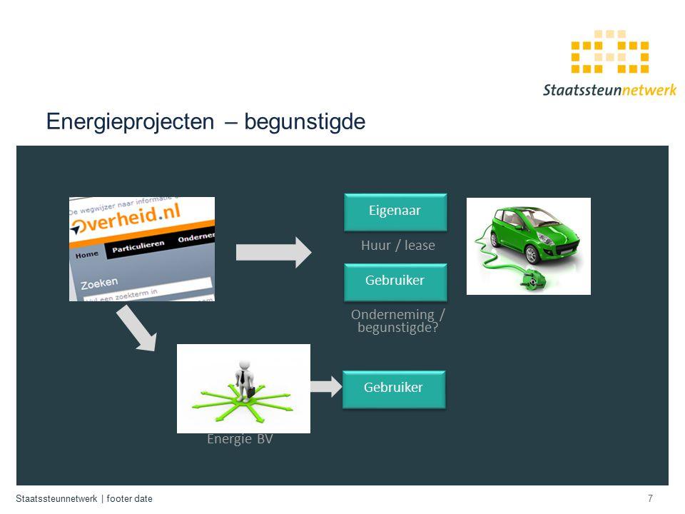 Staatssteunnetwerk | footer date Energieprojecten – begunstigde 7 Onderneming / begunstigde.