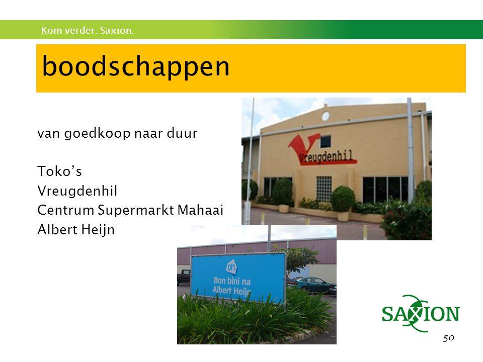 Kom verder. Saxion. 50 boodschappen van goedkoop naar duur Toko's Vreugdenhil Centrum Supermarkt Mahaai Albert Heijn