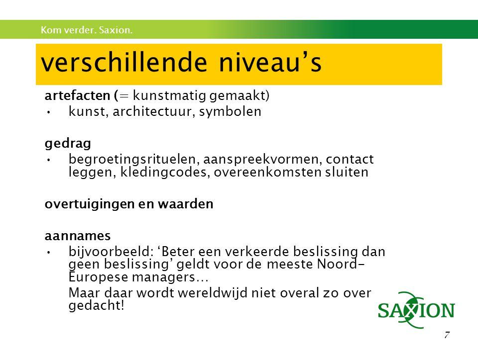 Kom verder. Saxion. 58 Zeer belangrijk Je bent NIET in Nederland.