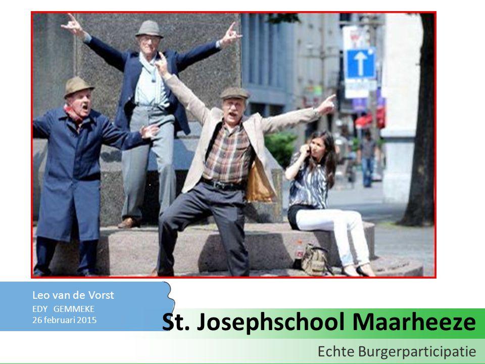 Leo van de Vorst EDY GEMMEKE 26 februari 2015 Echte Burgerparticipatie St. Josephschool Maarheeze