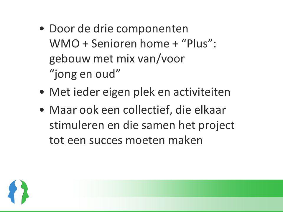 """Door de drie componenten WMO + Senioren home + """"Plus"""": gebouw met mix van/voor """"jong en oud"""" Met ieder eigen plek en activiteiten Maar ook een collect"""