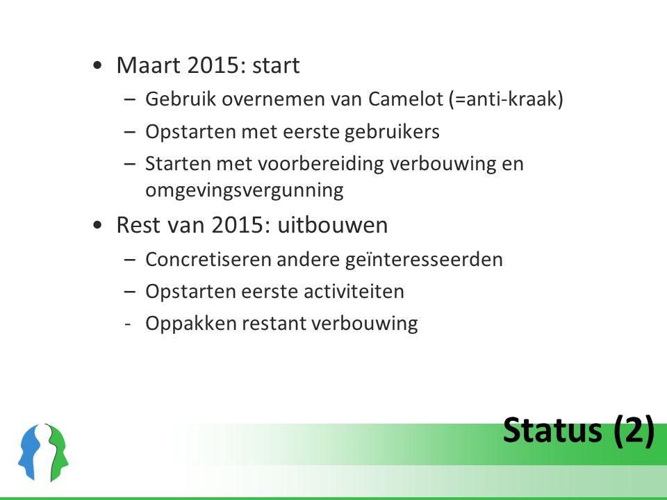 Status (2) Maart 2015: start –Gebruik overnemen van Camelot (=anti-kraak) –Opstarten met eerste gebruikers –Starten met voorbereiding verbouwing en om