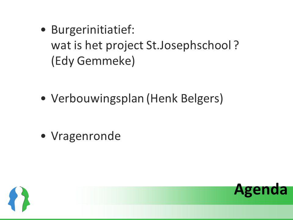 Agenda Burgerinitiatief: wat is het project St.Josephschool ? (Edy Gemmeke) Verbouwingsplan (Henk Belgers) Vragenronde