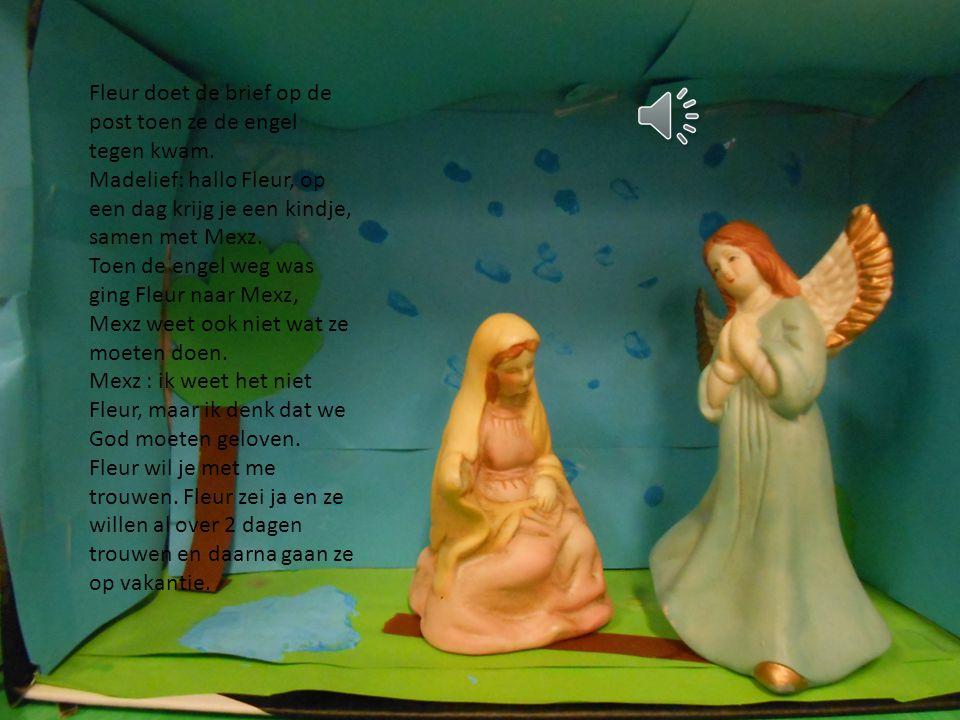 Fleur doet de brief op de post toen ze de engel tegen kwam.