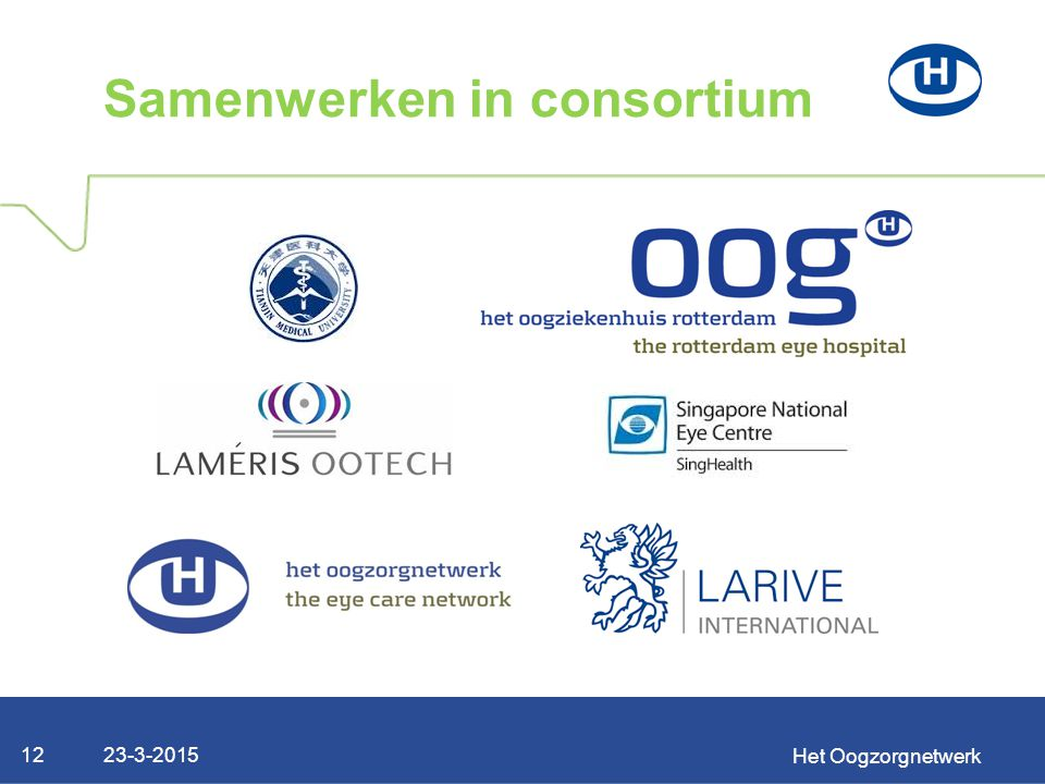 23-3-2015 Het Oogzorgnetwerk 12 Samenwerken in consortium