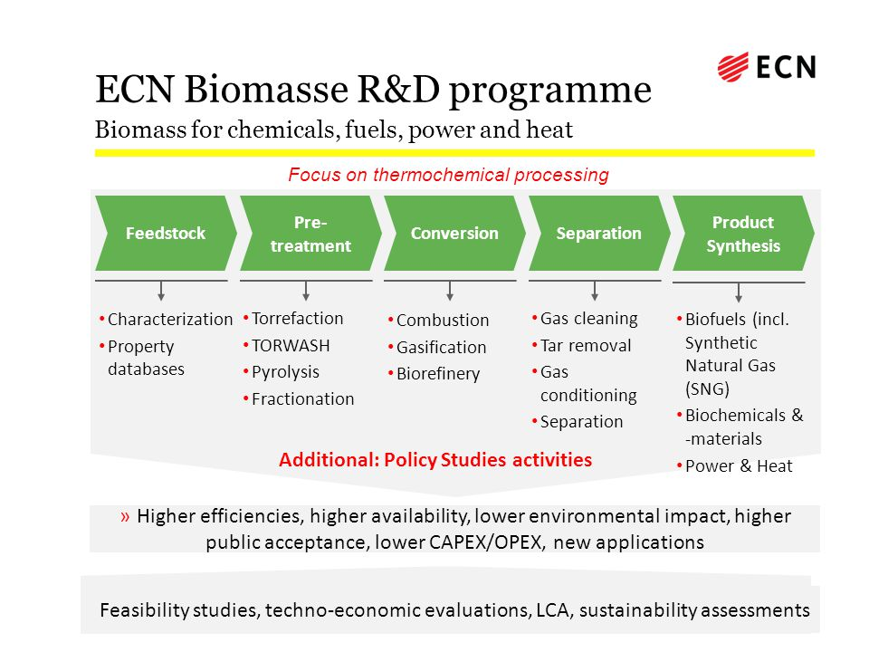 ECN Biomasse R&D programme Biomass for chemicals, fuels, power and heat Characterization Property databases Torrefaction TORWASH Pyrolysis Fractionati