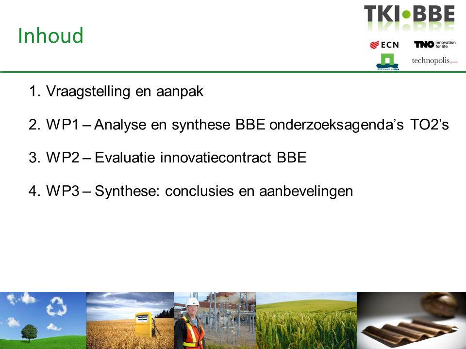 Vraagstelling 1.Synthese van onderzoeksagenda's van de TO2's – Op basis individuele agenda's: gezamenlijke agenda en mogelijkheid tot synthese – Kansen voor Nederland en nieuwe economische bedrijfsactiviteiten 2.Terugblik op het bestaande innovatiecontract BBE – Thema's uit het innovatiecontract Groene Groei goed opgepakt.
