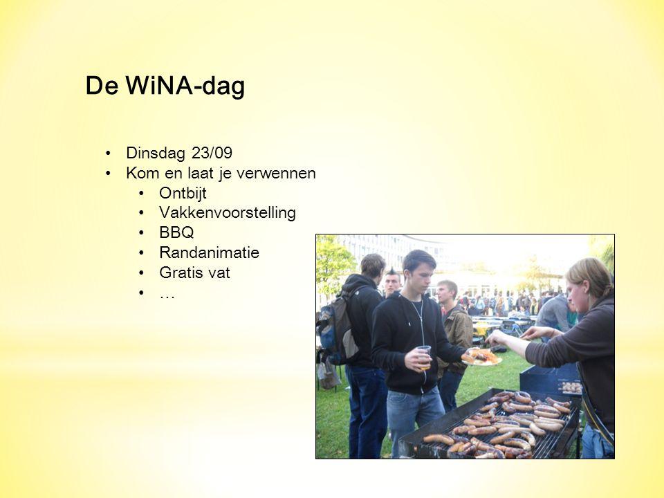 De WiNA-dag Dinsdag 23/09 Kom en laat je verwennen Ontbijt Vakkenvoorstelling BBQ Randanimatie Gratis vat …