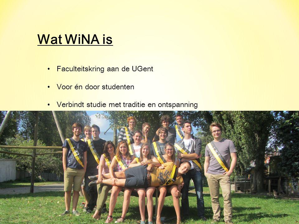 Wat WiNA is Faculteitskring aan de UGent Voor én door studenten Verbindt studie met traditie en ontspanning