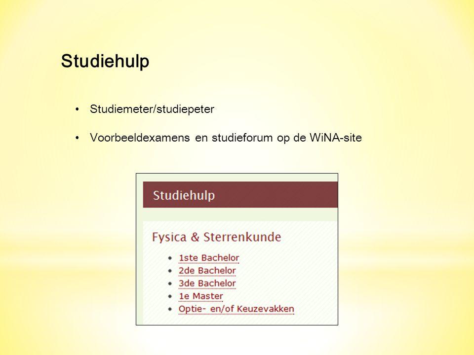 Studiehulp Studiemeter/studiepeter Voorbeeldexamens en studieforum op de WiNA-site