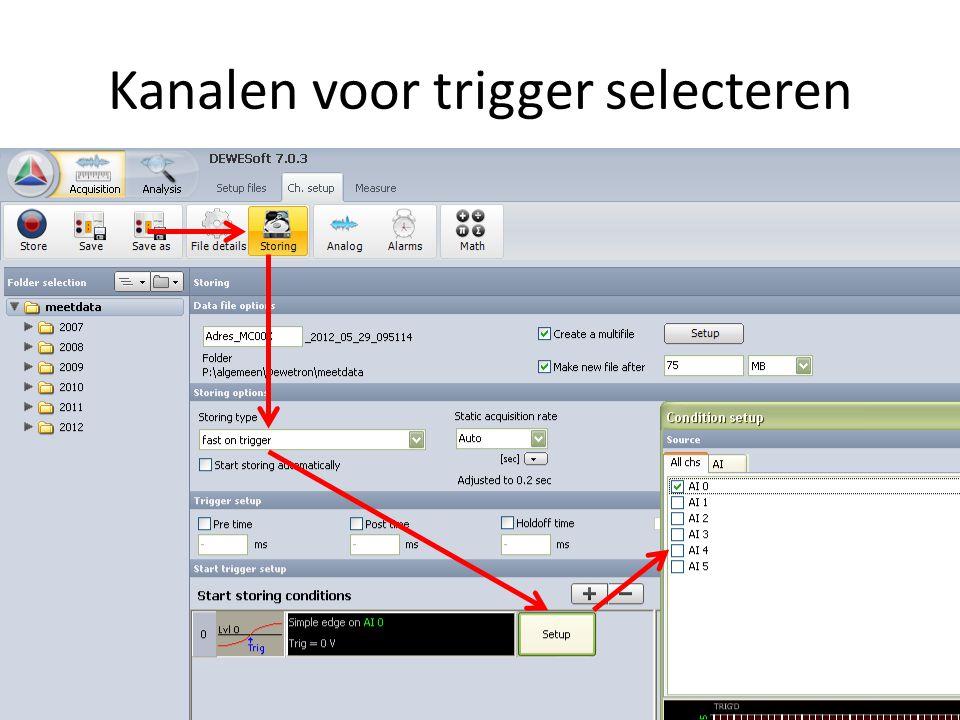 Kanalen voor trigger selecteren