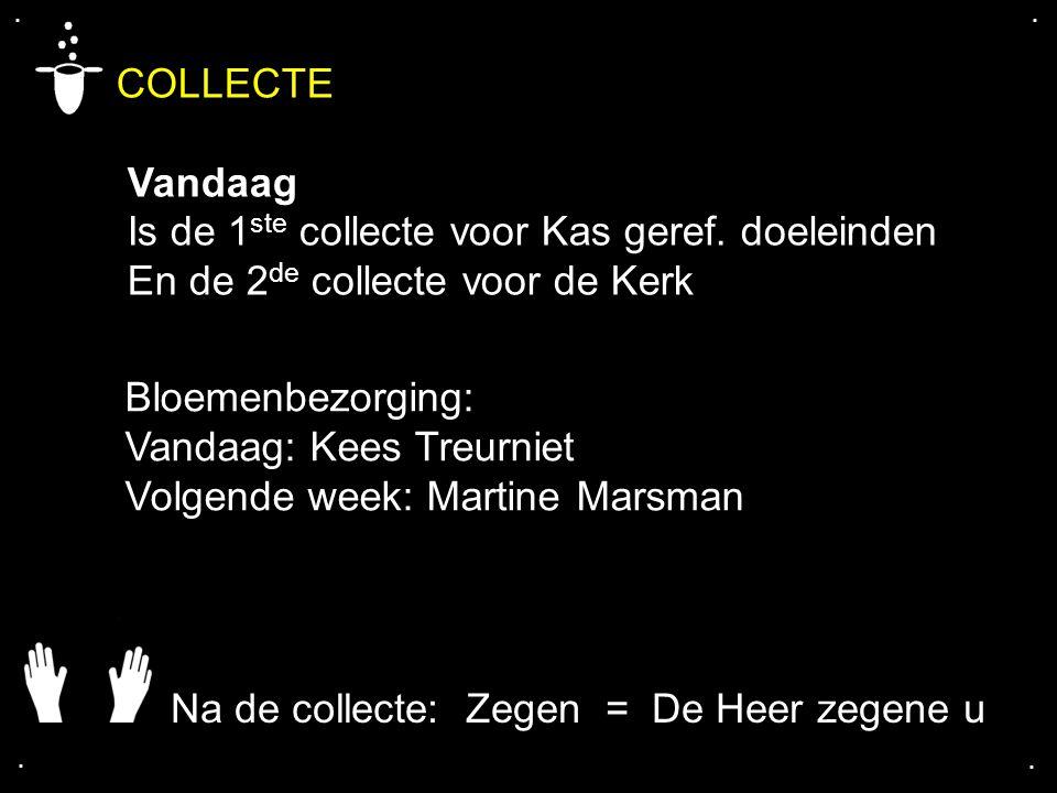 ....COLLECTE Vandaag Is de 1 ste collecte voor Kas geref.