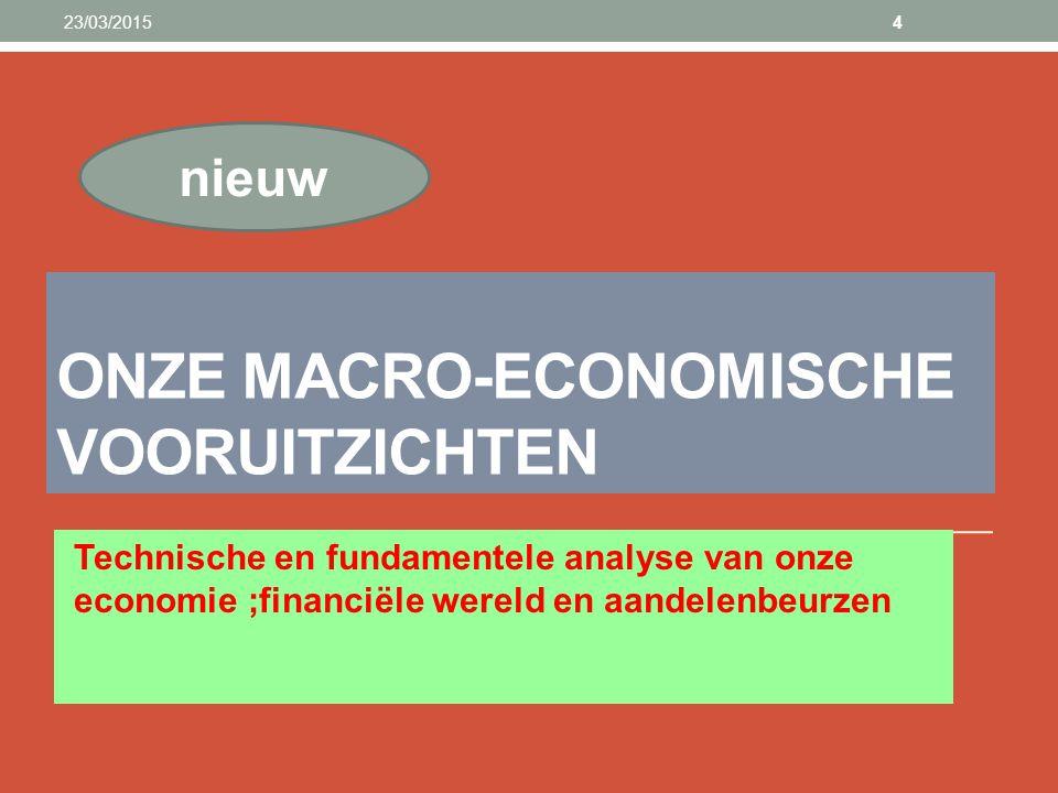 ONZE MACRO-ECONOMISCHE VOORUITZICHTEN Technische en fundamentele analyse van onze economie ;financiële wereld en aandelenbeurzen 23/03/20154 nieuw