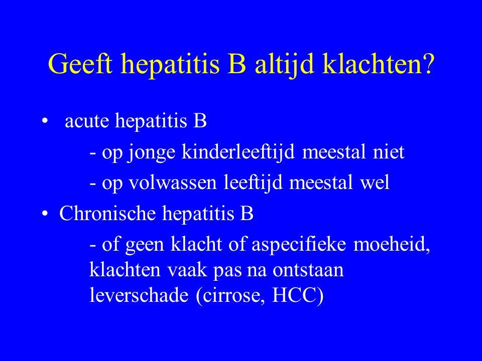 Geeft hepatitis B altijd klachten? acute hepatitis B - op jonge kinderleeftijd meestal niet - op volwassen leeftijd meestal wel Chronische hepatitis B