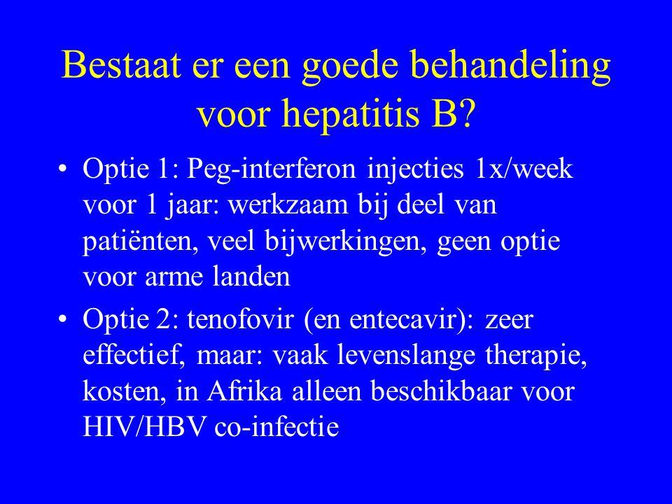 Bestaat er een goede behandeling voor hepatitis B? Optie 1: Peg-interferon injecties 1x/week voor 1 jaar: werkzaam bij deel van patiënten, veel bijwer