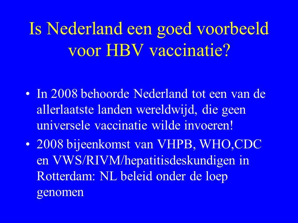 Is Nederland een goed voorbeeld voor HBV vaccinatie? In 2008 behoorde Nederland tot een van de allerlaatste landen wereldwijd, die geen universele vac
