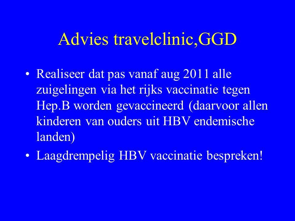 Advies travelclinic,GGD Realiseer dat pas vanaf aug 2011 alle zuigelingen via het rijks vaccinatie tegen Hep.B worden gevaccineerd (daarvoor allen kinderen van ouders uit HBV endemische landen) Laagdrempelig HBV vaccinatie bespreken!