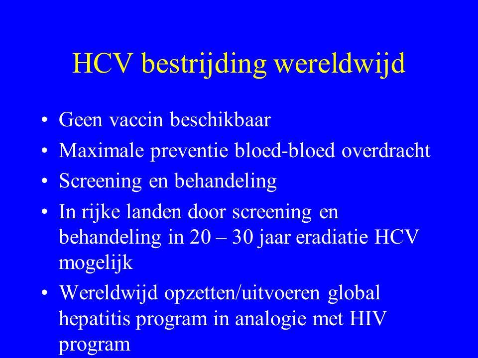 HCV bestrijding wereldwijd Geen vaccin beschikbaar Maximale preventie bloed-bloed overdracht Screening en behandeling In rijke landen door screening e