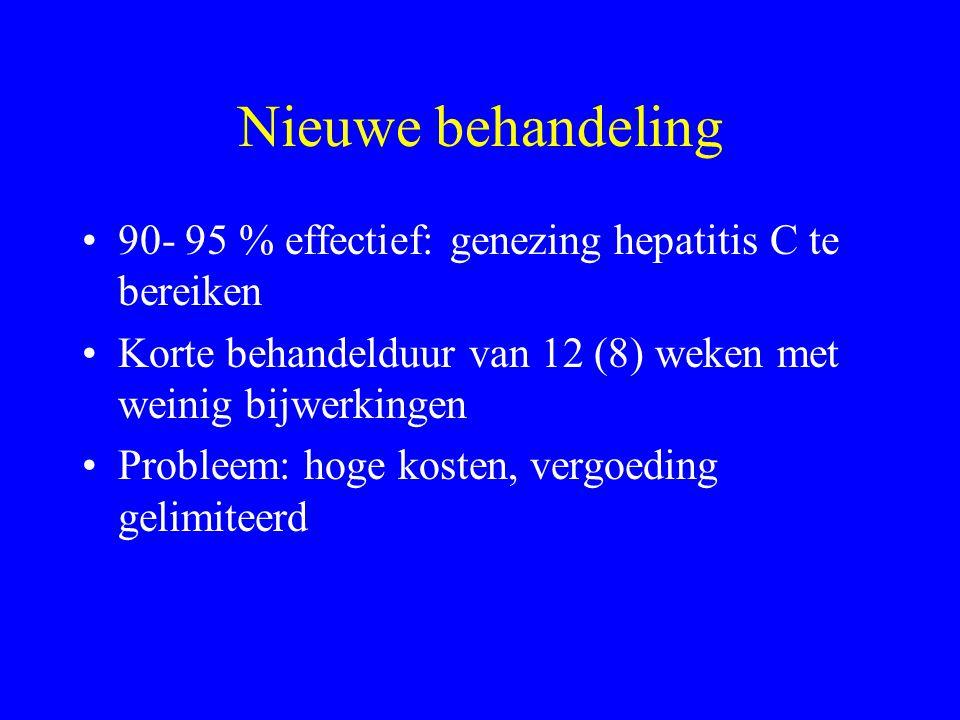 Nieuwe behandeling 90- 95 % effectief: genezing hepatitis C te bereiken Korte behandelduur van 12 (8) weken met weinig bijwerkingen Probleem: hoge kosten, vergoeding gelimiteerd