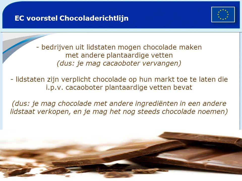 - bedrijven uit lidstaten mogen chocolade maken met andere plantaardige vetten (dus: je mag cacaoboter vervangen) - lidstaten zijn verplicht chocolade op hun markt toe te laten die i.p.v.
