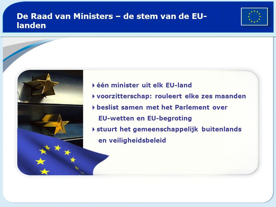 De Raad van Ministers – de stem van de EU- landen  één minister uit elk EU-land  voorzitterschap: rouleert elke zes maanden  beslist samen met het Parlement over EU-wetten en EU-begroting  stuurt het gemeenschappelijk buitenlands en veiligheidsbeleid