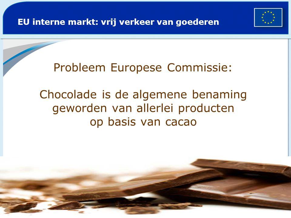 Probleem Europese Commissie: Chocolade is de algemene benaming geworden van allerlei producten op basis van cacao EU interne markt: vrij verkeer van g