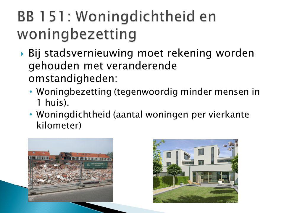  Bij stadsvernieuwing moet rekening worden gehouden met veranderende omstandigheden: Woningbezetting (tegenwoordig minder mensen in 1 huis). Woningdi