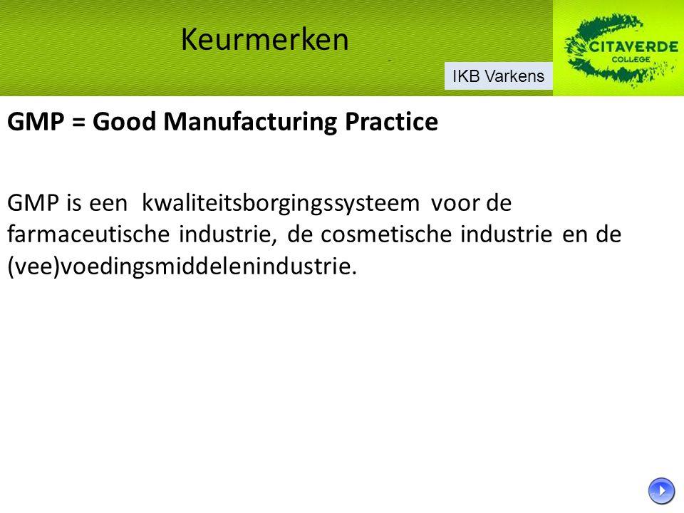 GMP = Good Manufacturing Practice GMP is een kwaliteitsborgingssysteem voor de farmaceutische industrie, de cosmetische industrie en de (vee)voedingsm
