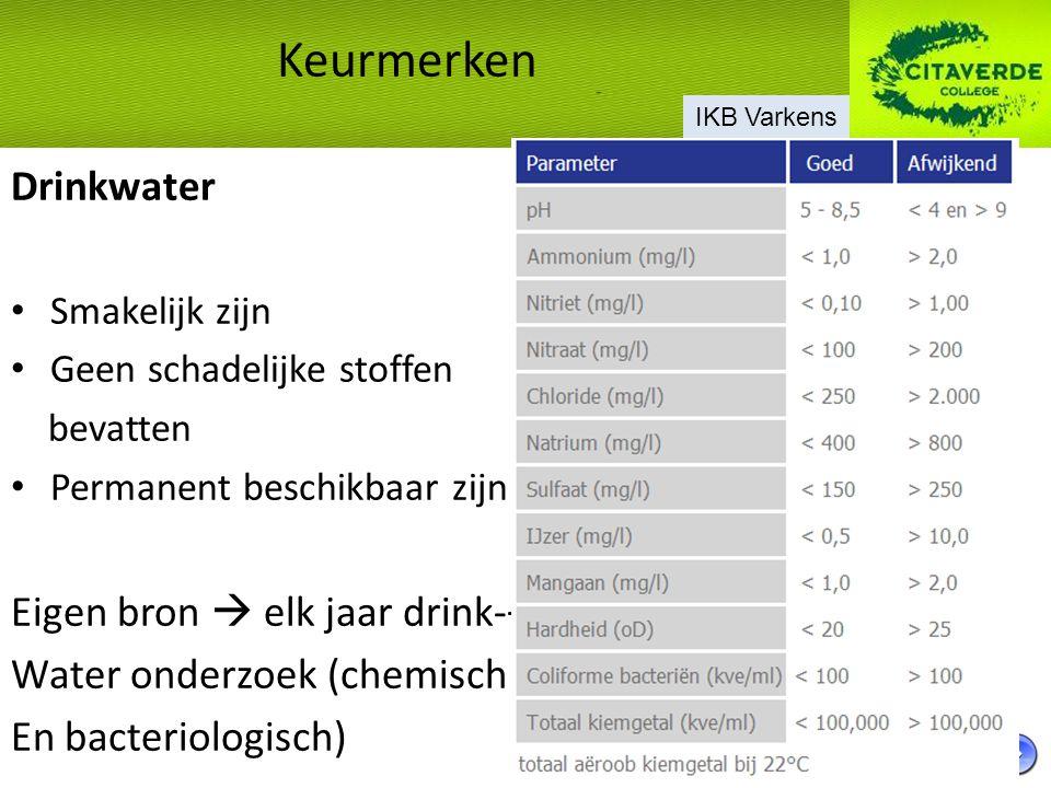 Drinkwater Smakelijk zijn Geen schadelijke stoffen bevatten Permanent beschikbaar zijn Eigen bron  elk jaar drink-+ Water onderzoek (chemisch En bact