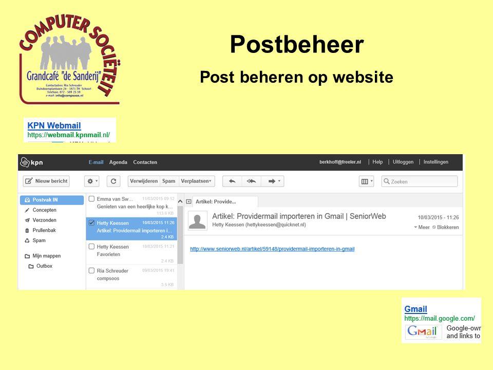 Postbeheer Post beheren op website