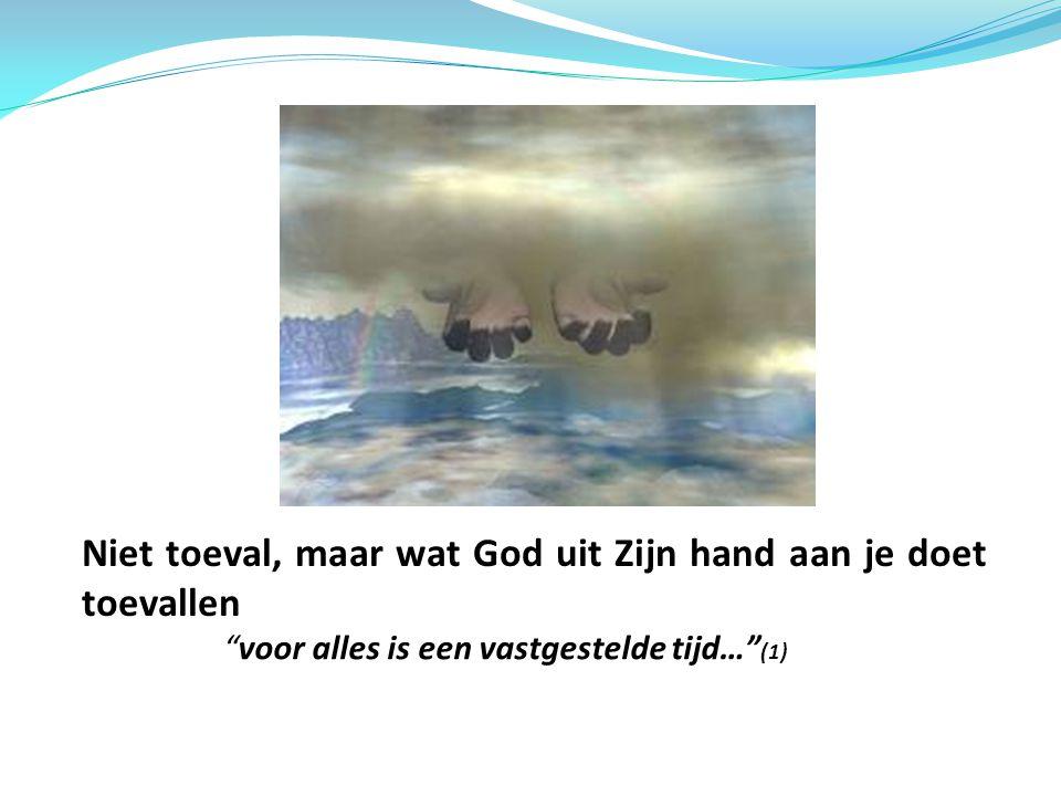 """Niet toeval, maar wat God uit Zijn hand aan je doet toevallen """"voor alles is een vastgestelde tijd…"""" (1)"""