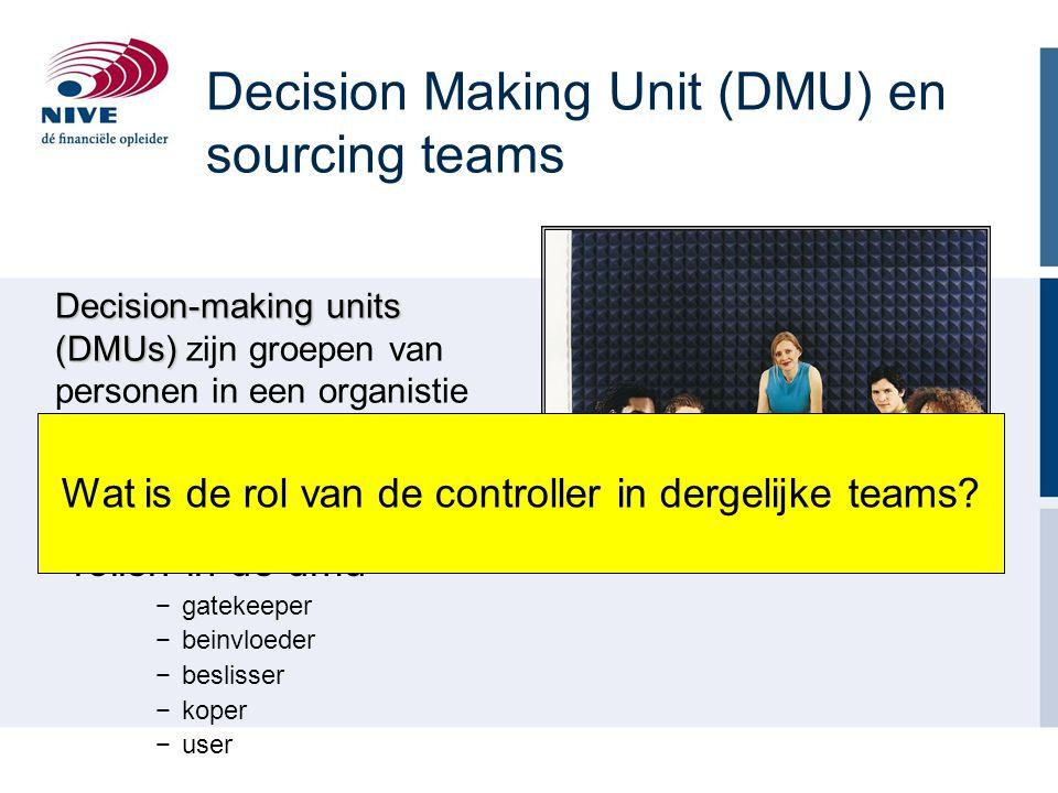 Decision Making Unit (DMU) en sourcing teams −rollen in de dmu −gatekeeper −beinvloeder −beslisser −koper −user Decision-making units (DMUs) Decision-