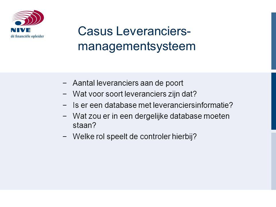 Casus Leveranciers- managementsysteem −Aantal leveranciers aan de poort −Wat voor soort leveranciers zijn dat? −Is er een database met leveranciersinf