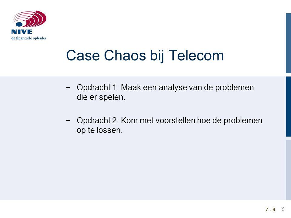 6 7 - 6 Case Chaos bij Telecom −Opdracht 1: Maak een analyse van de problemen die er spelen. −Opdracht 2: Kom met voorstellen hoe de problemen op te l