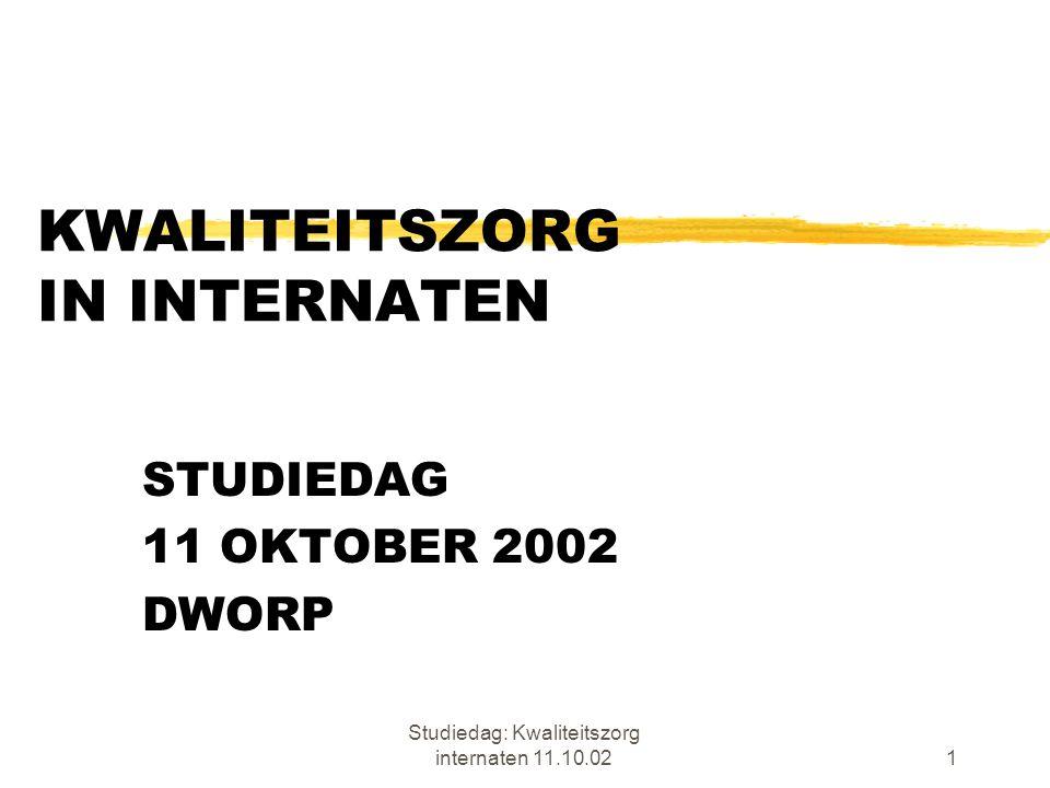 Studiedag: Kwaliteitszorg internaten 11.10.021 KWALITEITSZORG IN INTERNATEN STUDIEDAG 11 OKTOBER 2002 DWORP