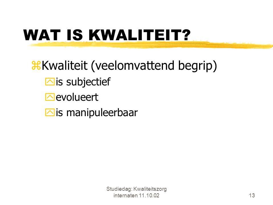 Studiedag: Kwaliteitszorg internaten 11.10.0213 WAT IS KWALITEIT? zKwaliteit (veelomvattend begrip) yis subjectief yevolueert yis manipuleerbaar