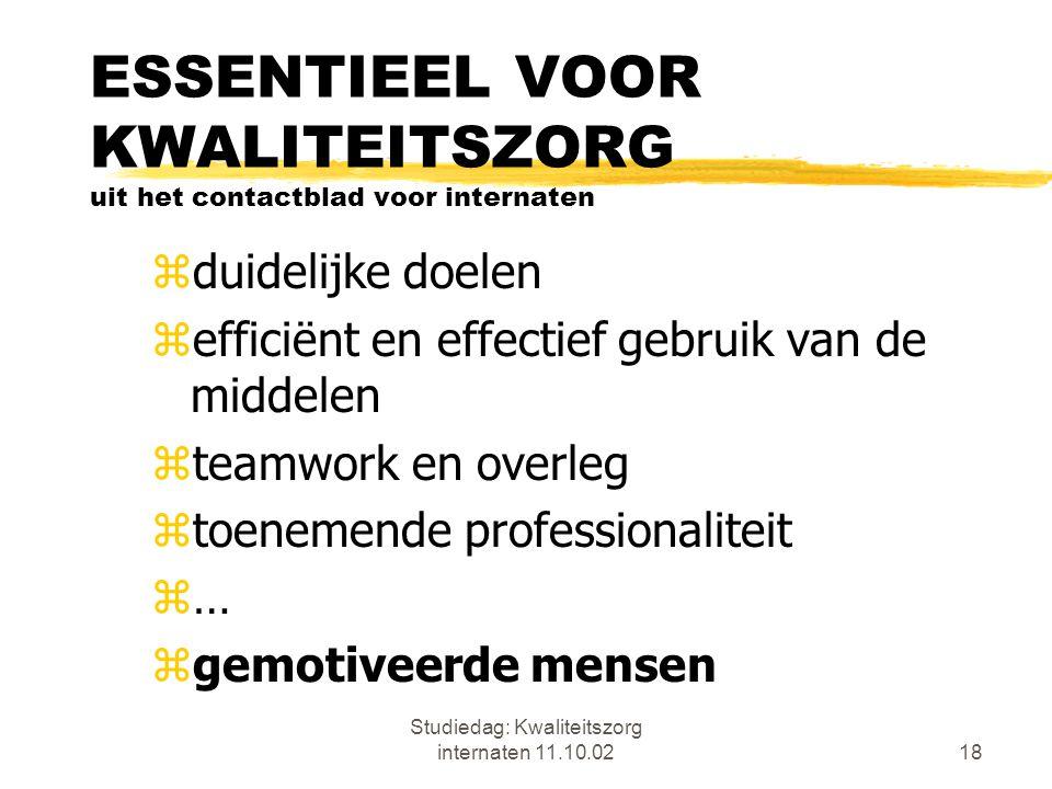 Studiedag: Kwaliteitszorg internaten 11.10.0218 ESSENTIEEL VOOR KWALITEITSZORG uit het contactblad voor internaten zduidelijke doelen zefficiënt en ef