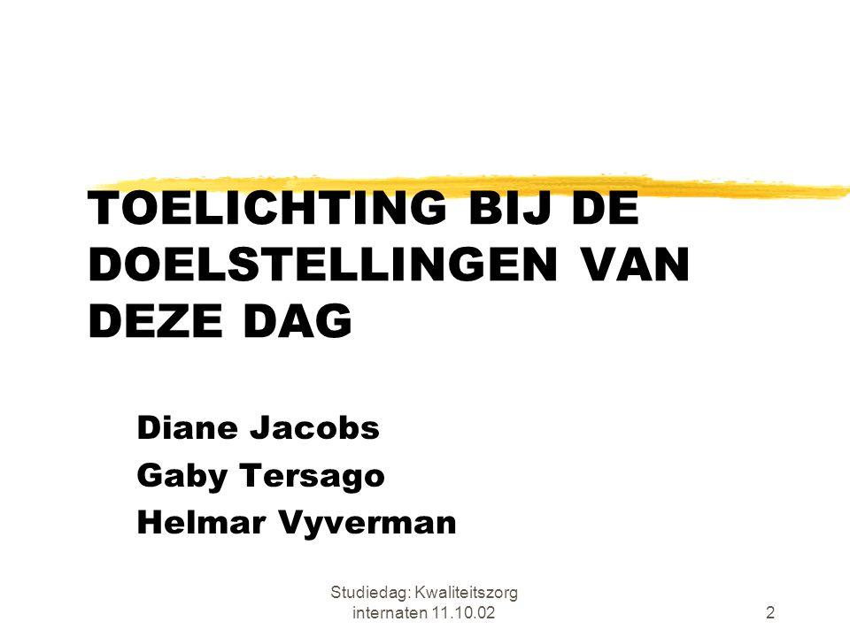 Studiedag: Kwaliteitszorg internaten 11.10.0223 ZELFEVALUATIE definitie naar prof.